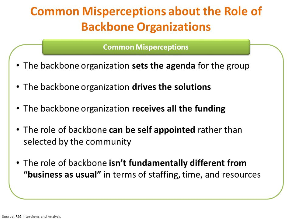 Common Misperceptions about the Role of Backbone Organizations