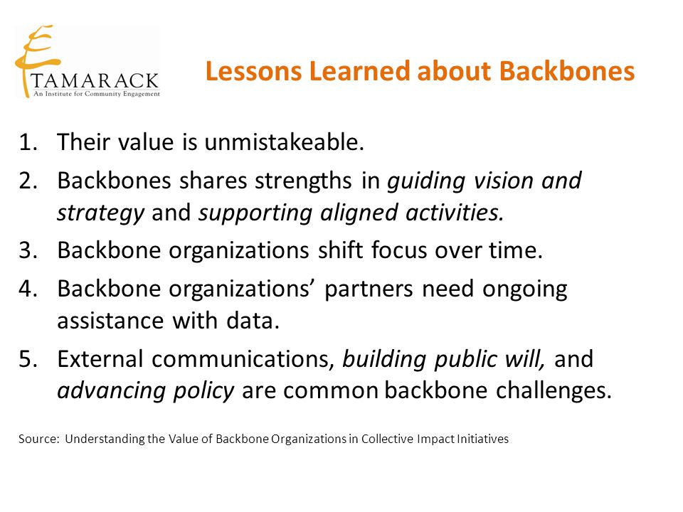Lessons Learned about Backbones