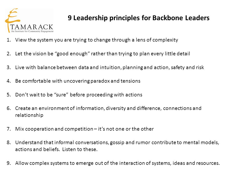 9 Leadership principles for Backbone Leaders