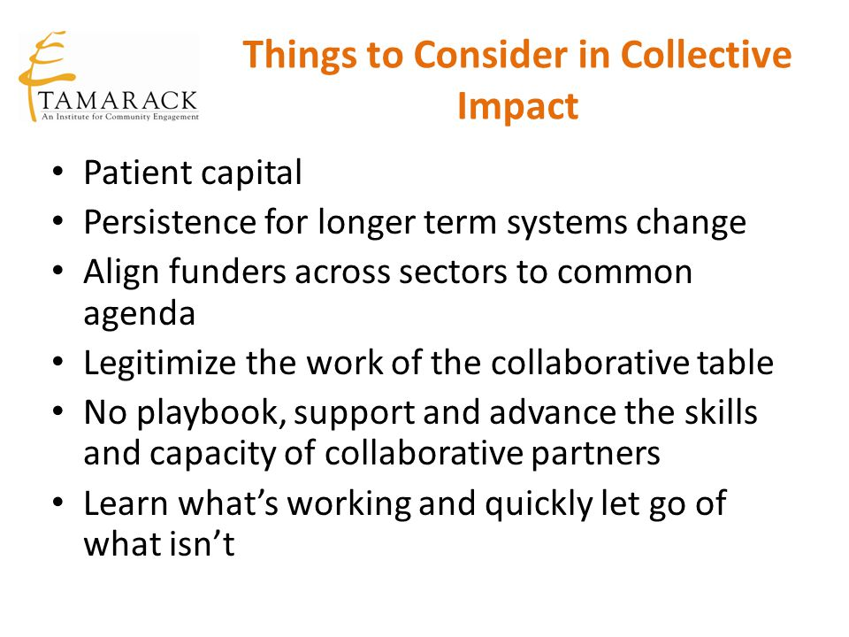 Things to Consider in Collective Impact