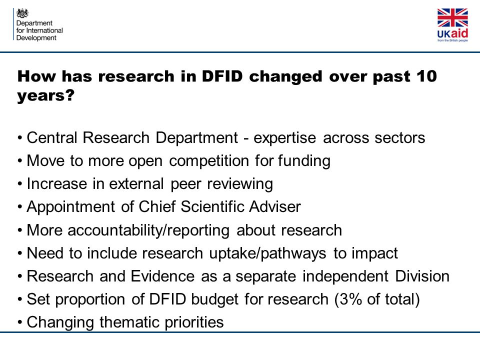 How has research in DFID changed over past 10 years