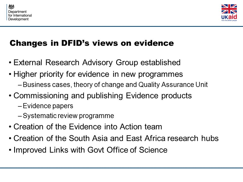Changes in DFID's views on evidence