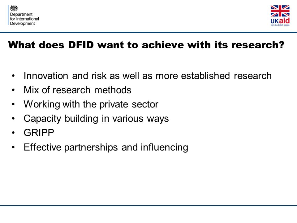 What does DFID want to achieve with its research