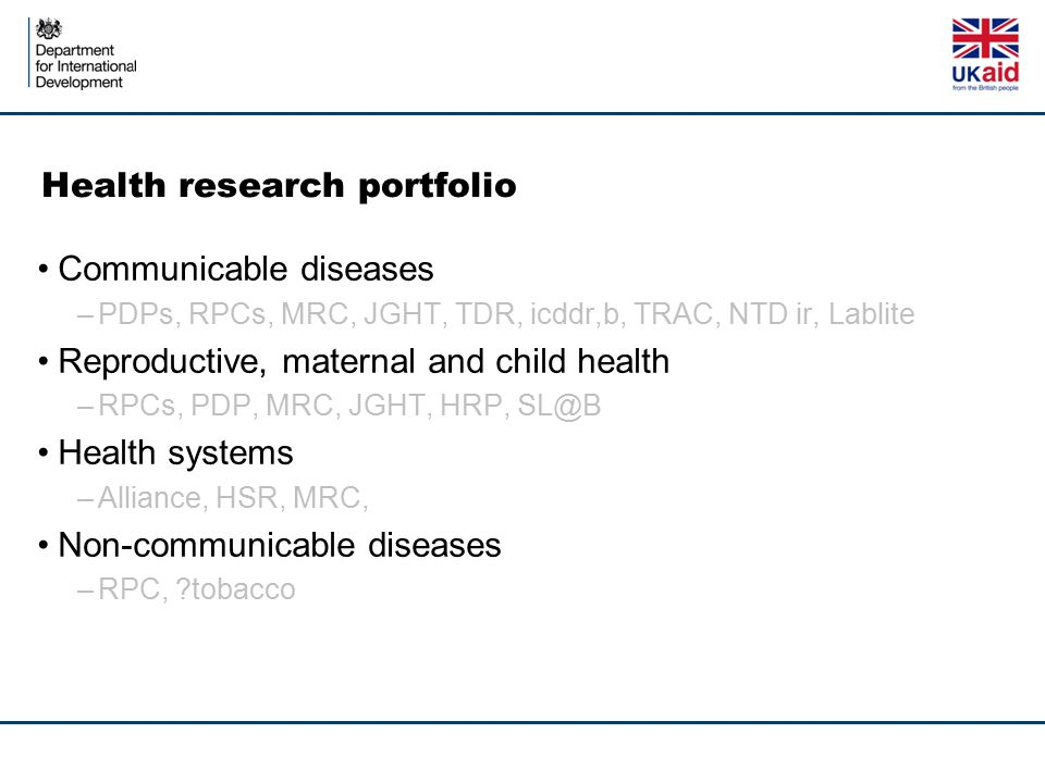 Health research portfolio