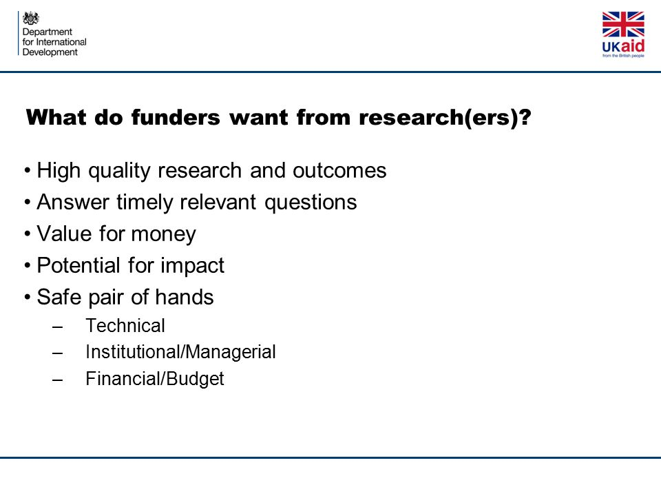 What do funders want from research(ers)