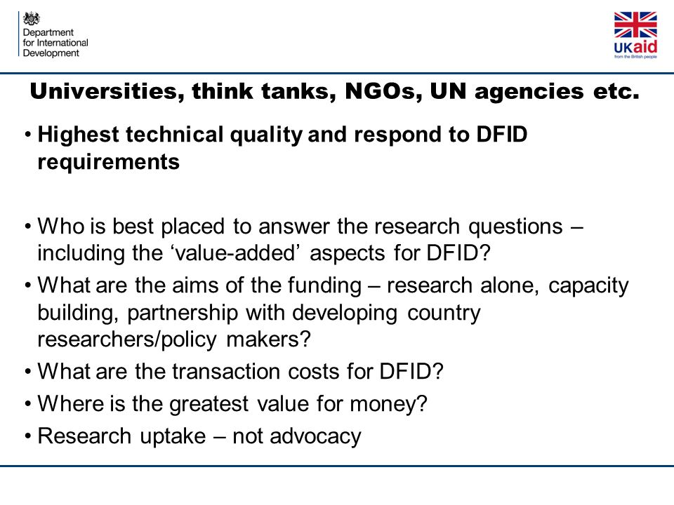Universities, think tanks, NGOs, UN agencies etc.
