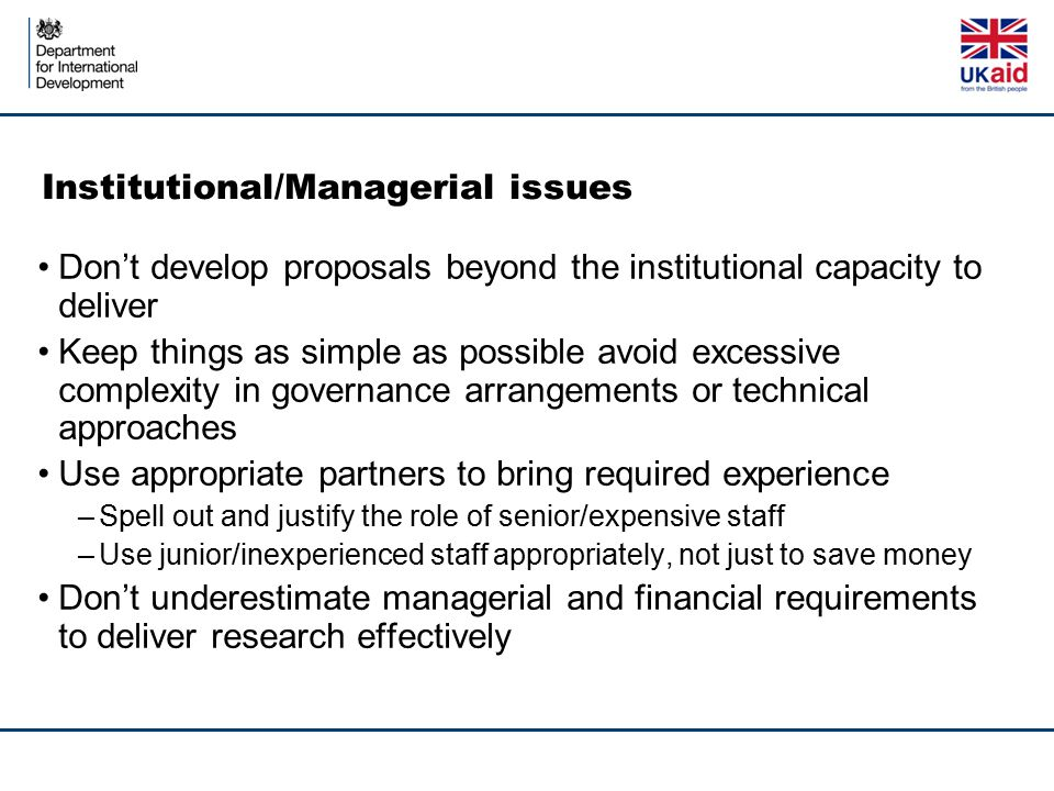 Institutional/Managerial issues