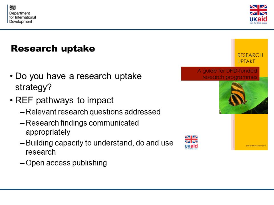 Do you have a research uptake strategy REF pathways to impact
