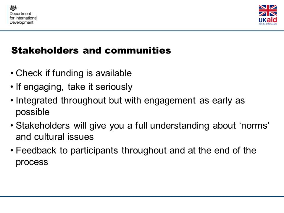 Stakeholders and communities