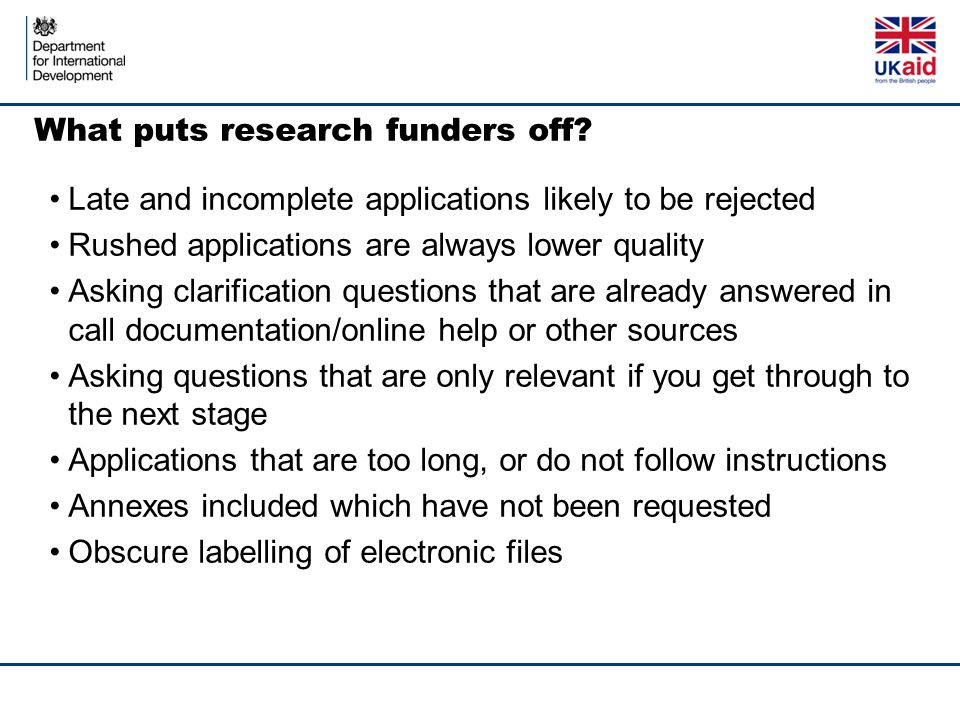 What puts research funders off