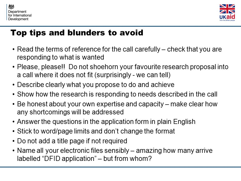 Top tips and blunders to avoid