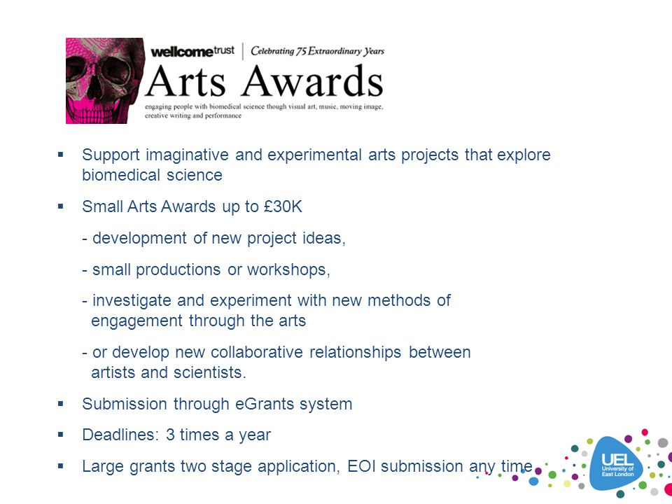 f Support imaginative and experimental arts projects that explore biomedical science. Small Arts Awards up to £30K.