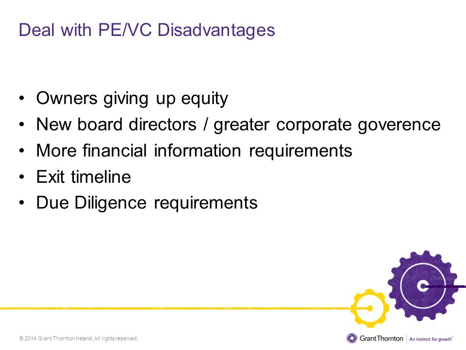 Deal with PE/VC Disadvantages