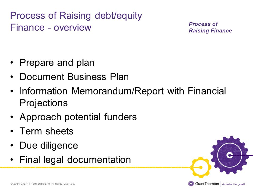 Process of Raising debt/equity Finance - overview