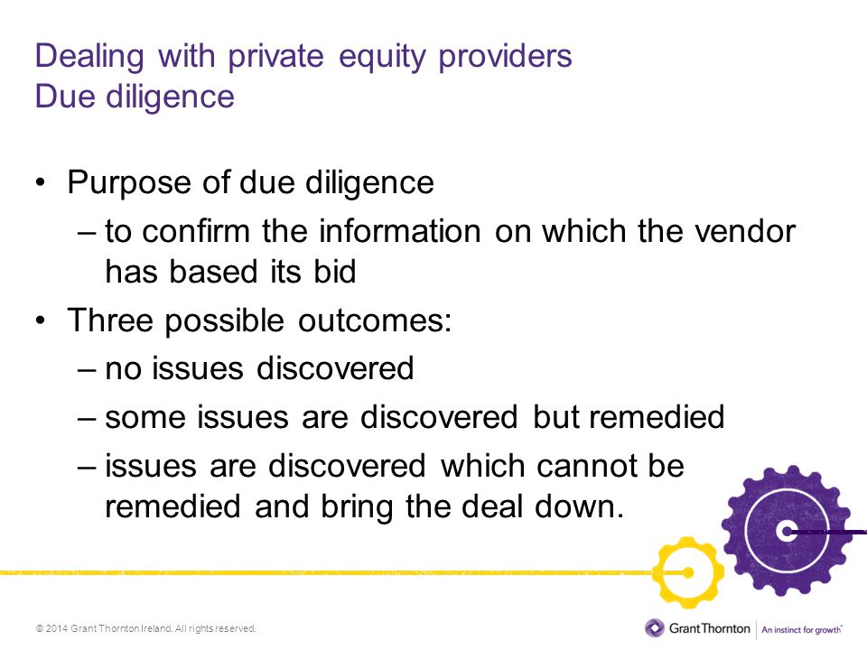 Dealing with private equity providers Due diligence