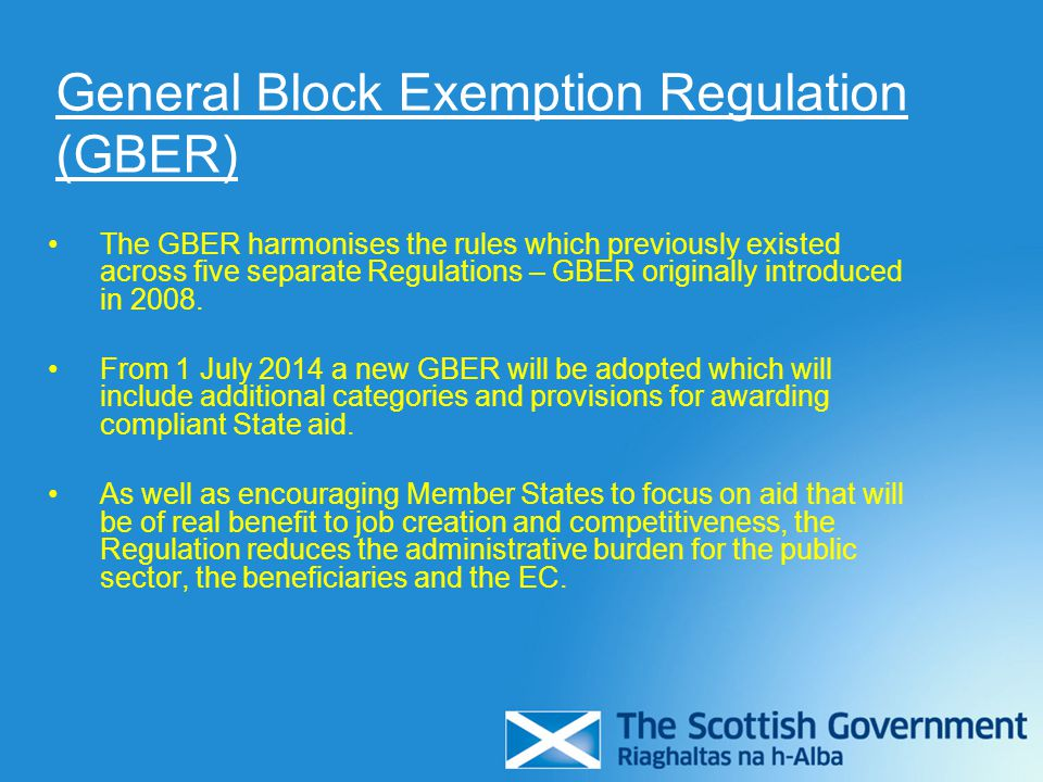 General Block Exemption Regulation (GBER)