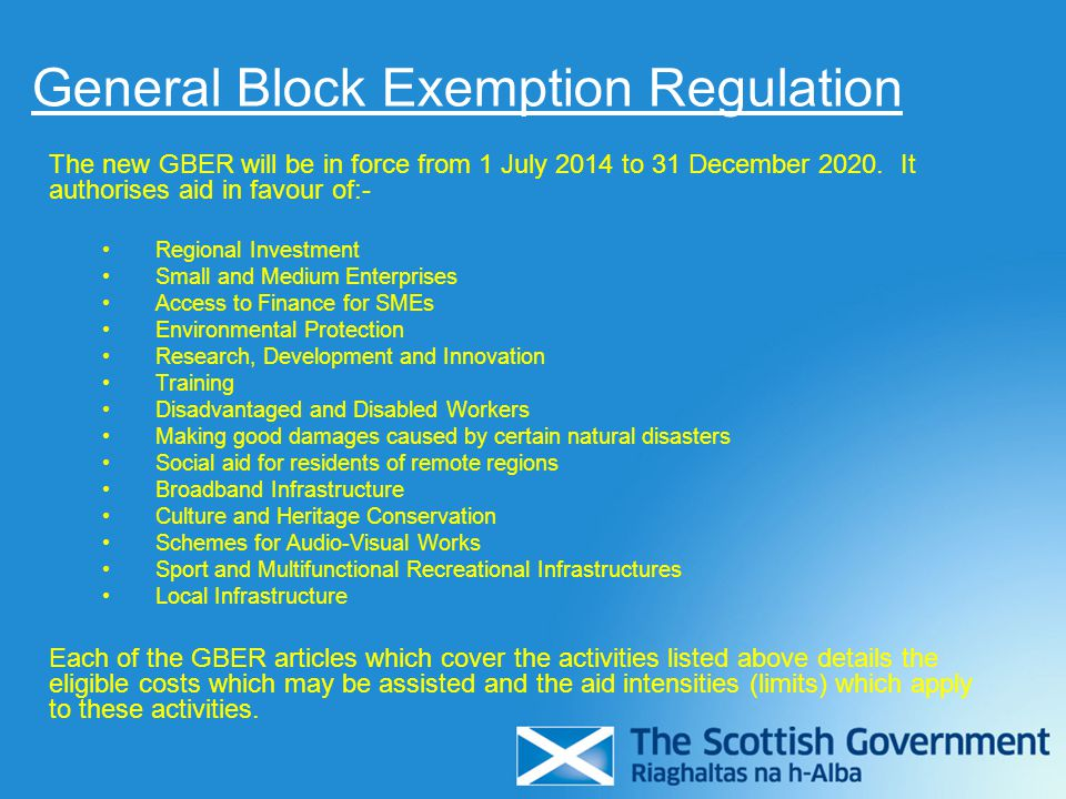 General Block Exemption Regulation