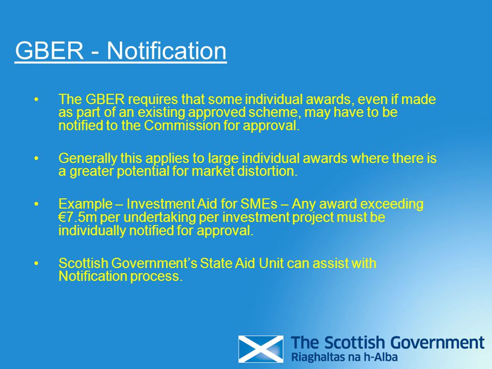 GBER - Notification