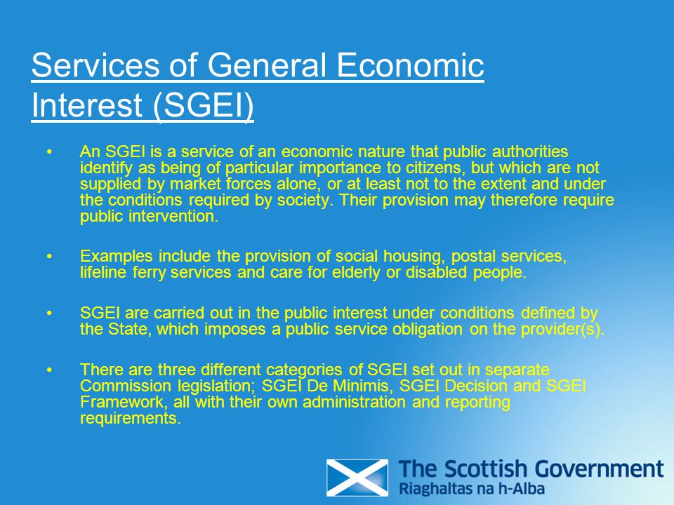 Services of General Economic Interest (SGEI)