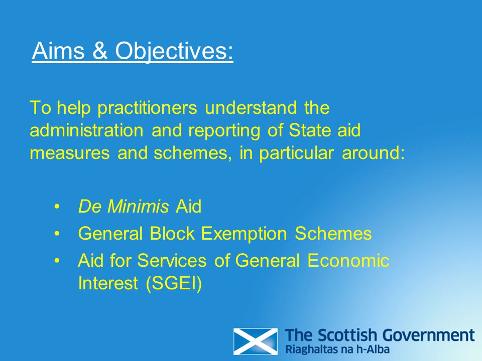 Aims & Objectives: To help practitioners understand the administration and reporting of State aid measures and schemes, in particular around: