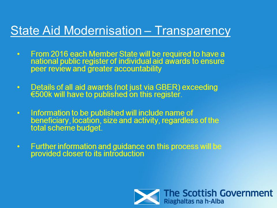 State Aid Modernisation – Transparency