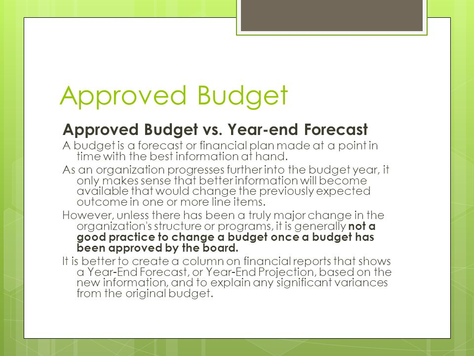 Approved Budget Approved Budget vs. Year-end Forecast