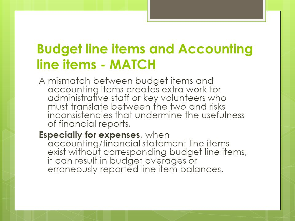 Budget line items and Accounting line items - MATCH