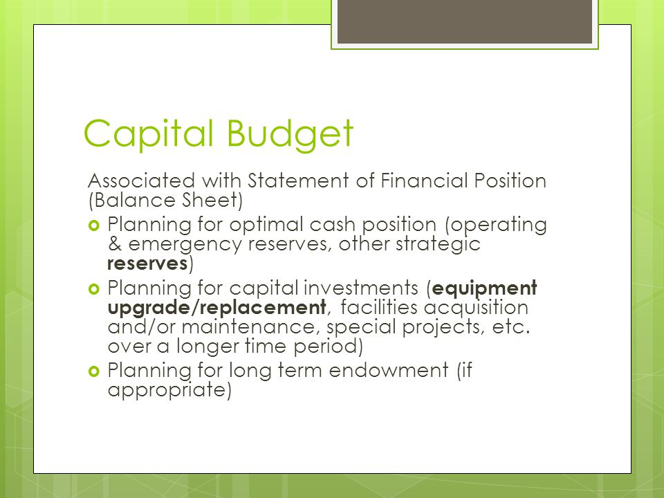Capital Budget Associated with Statement of Financial Position (Balance Sheet)