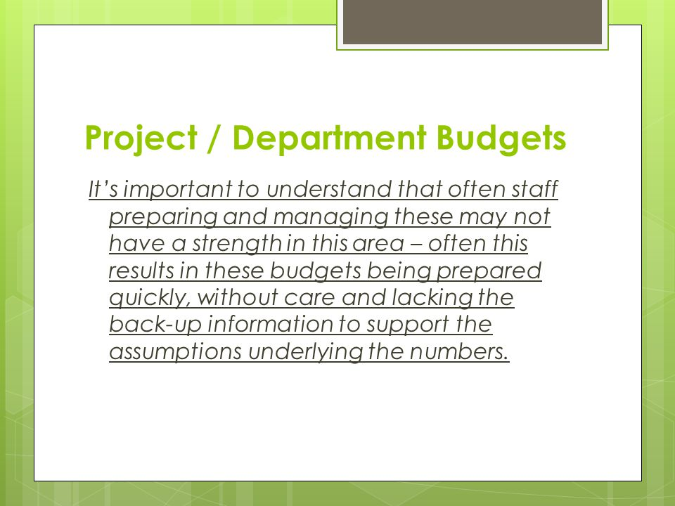 Project / Department Budgets