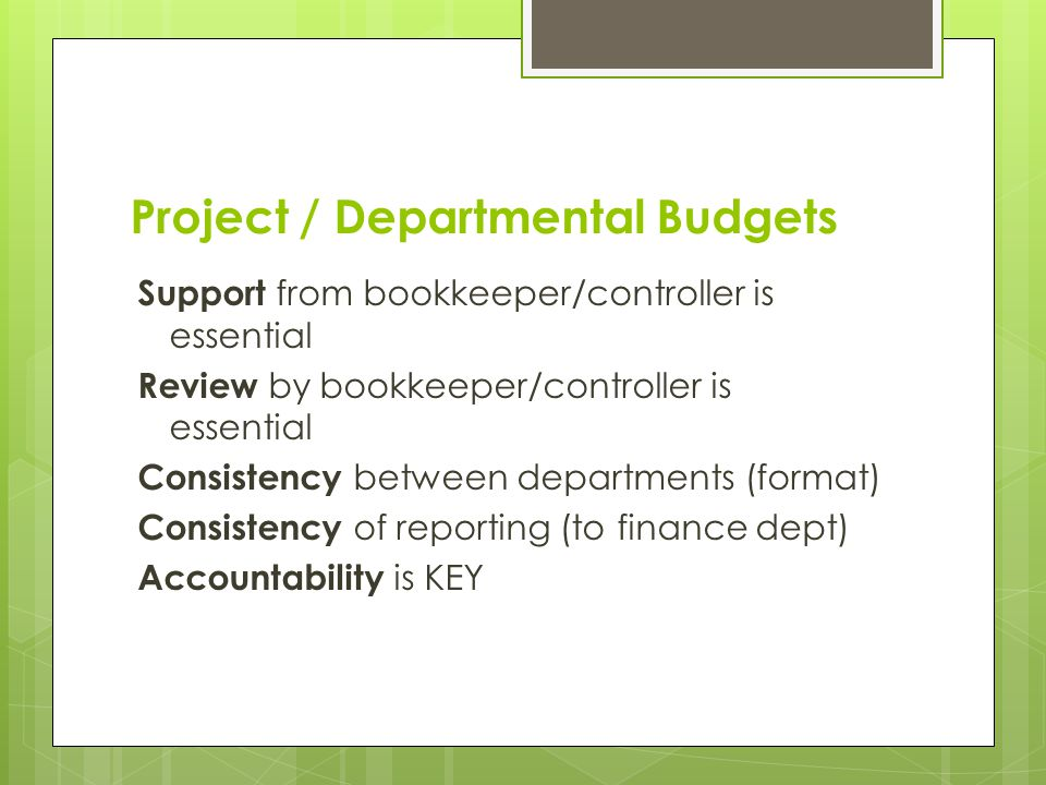 Project / Departmental Budgets