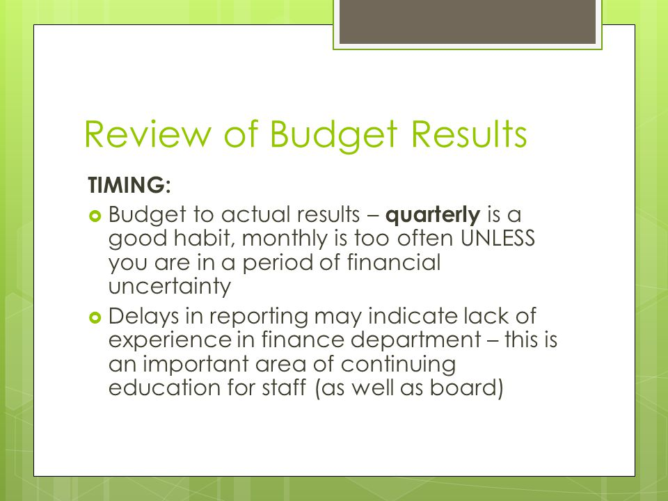Review of Budget Results