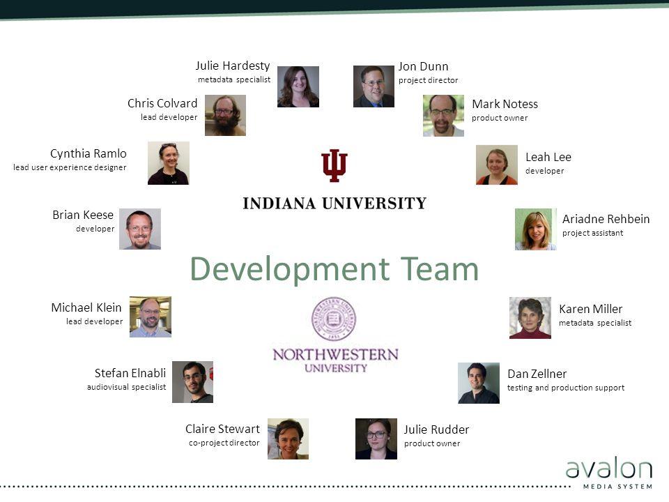 Development Team Julie Hardesty Jon Dunn Chris Colvard Mark Notess