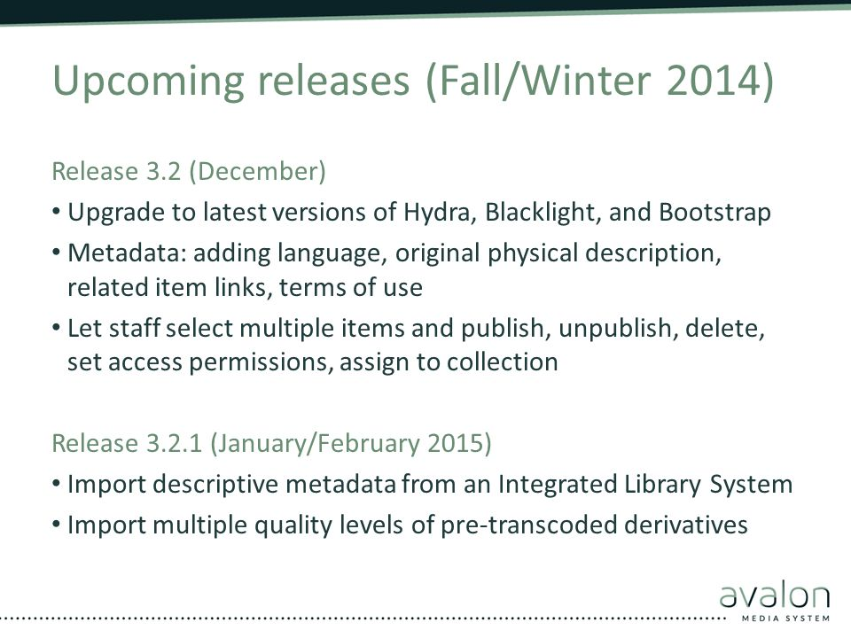 Upcoming releases (Fall/Winter 2014)