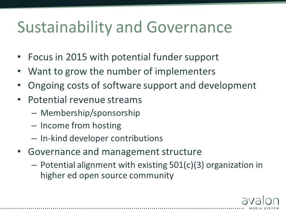 Sustainability and Governance