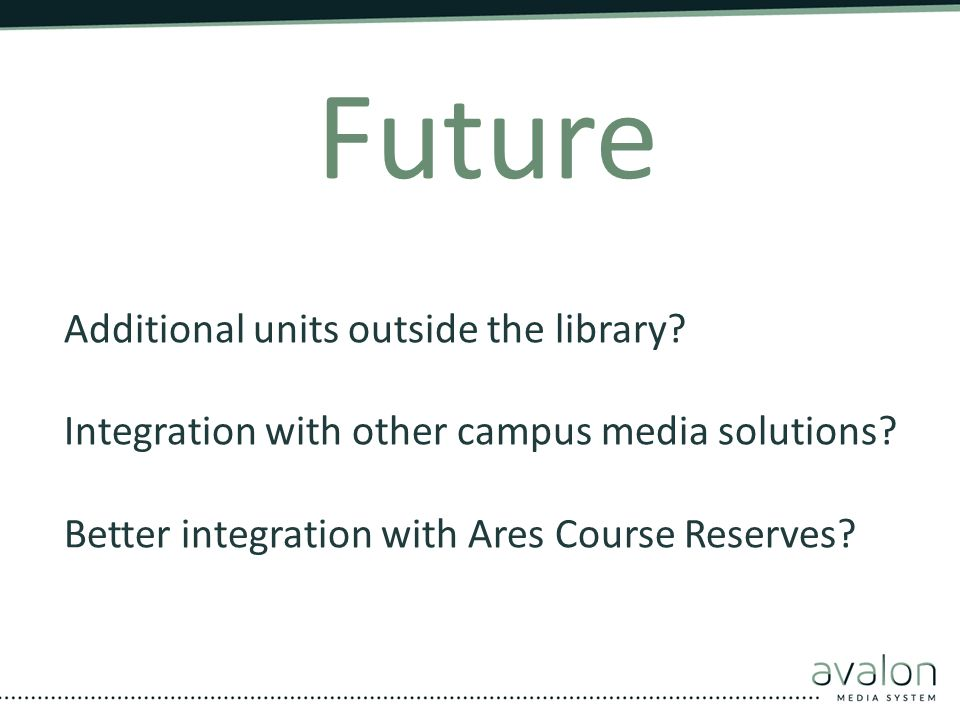 Future Additional units outside the library