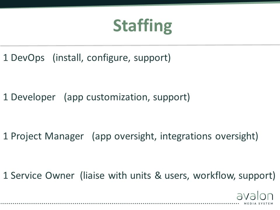 Staffing 1 DevOps (install, configure, support)