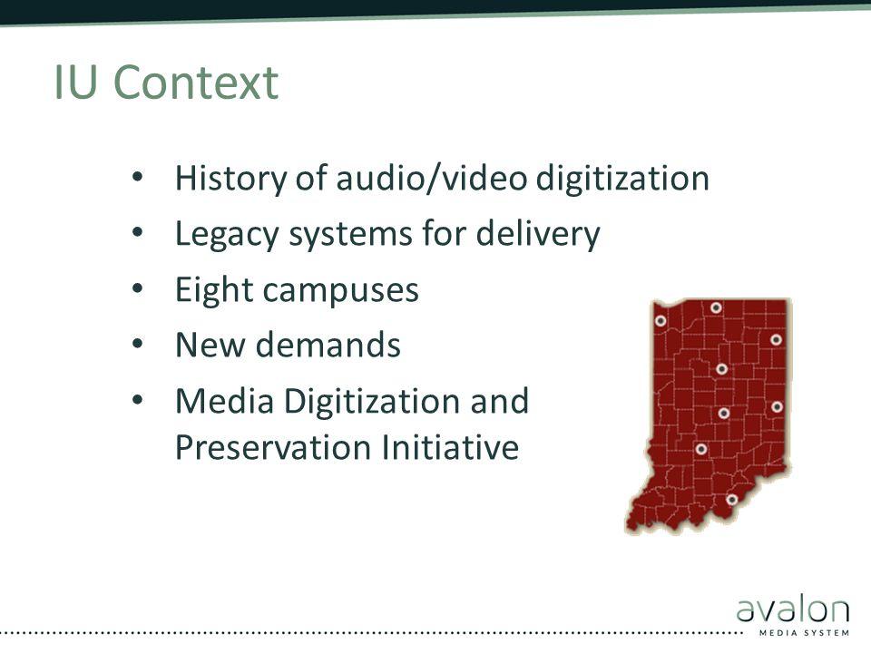 IU Context History of audio/video digitization