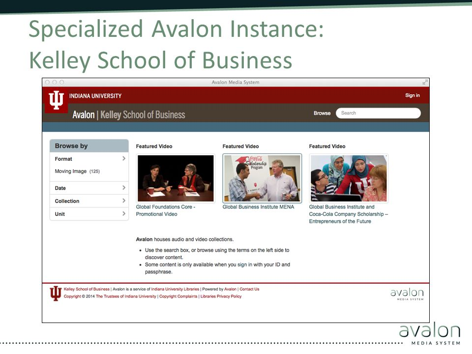 Specialized Avalon Instance: Kelley School of Business