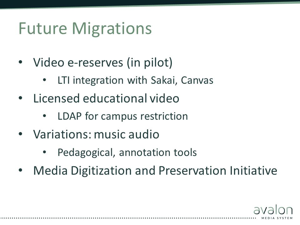 Future Migrations Video e-reserves (in pilot)