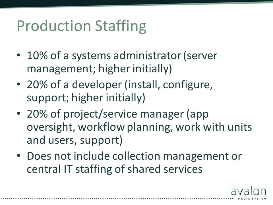 Production Staffing 10% of a systems administrator (server management; higher initially)