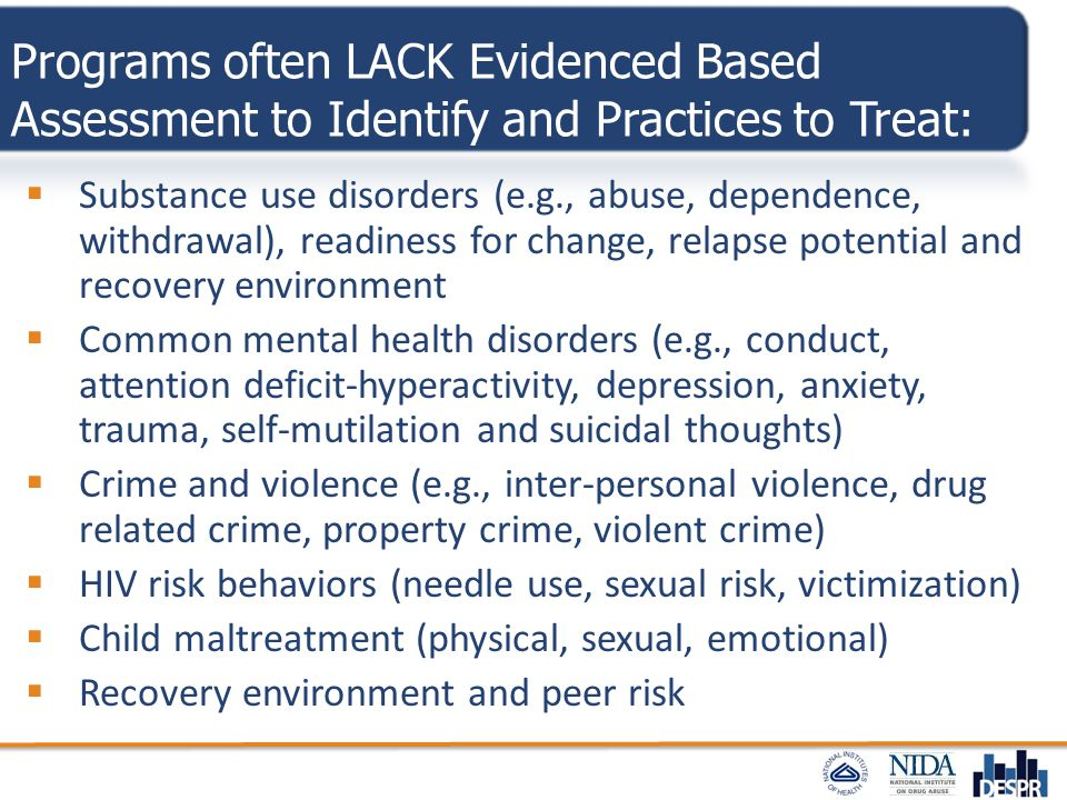 Programs often LACK Evidenced Based Assessment to Identify and Practices to Treat: