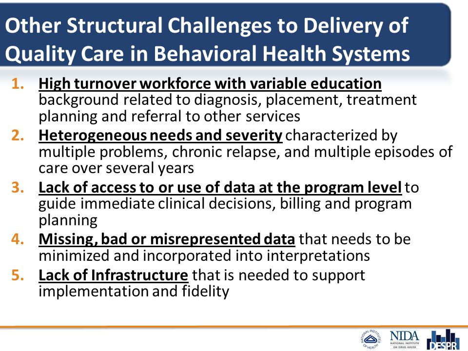 Other Structural Challenges to Delivery of Quality Care in Behavioral Health Systems