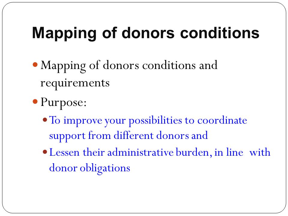 Mapping of donors conditions