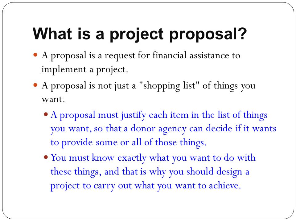 What is a project proposal