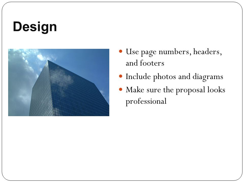 Design Use page numbers, headers, and footers