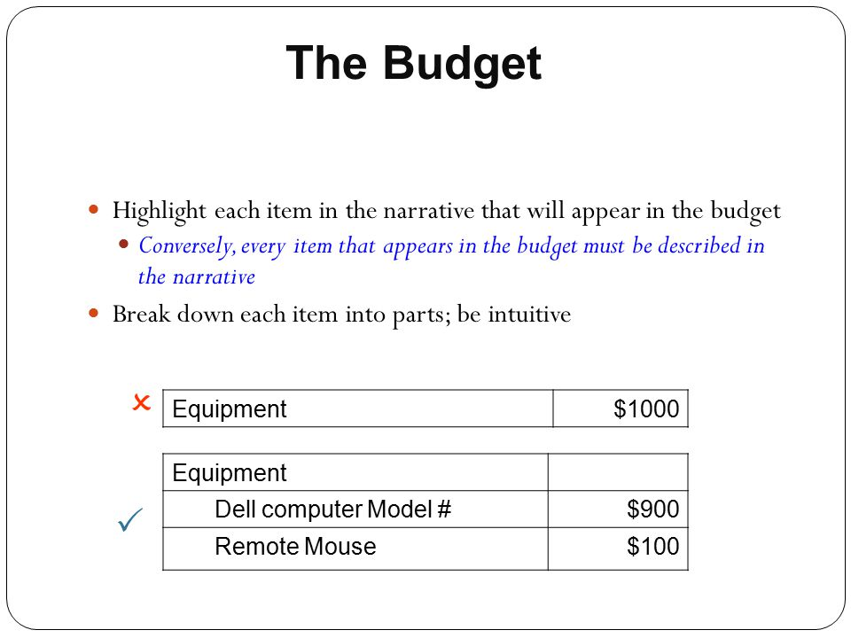 The Budget Highlight each item in the narrative that will appear in the budget.