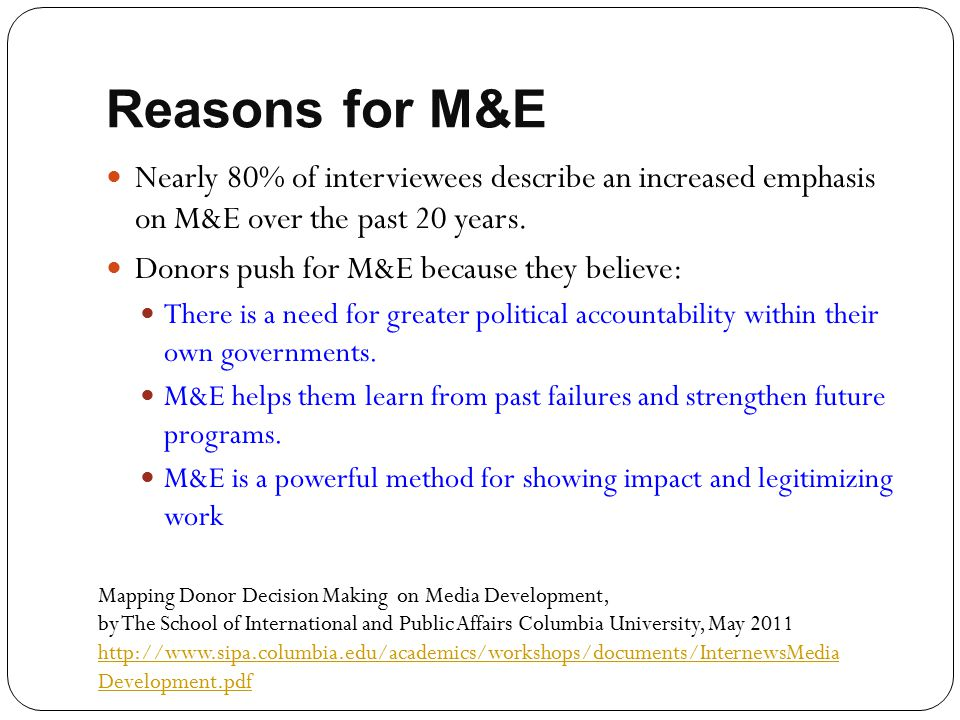 Reasons for M&E Nearly 80% of interviewees describe an increased emphasis on M&E over the past 20 years.