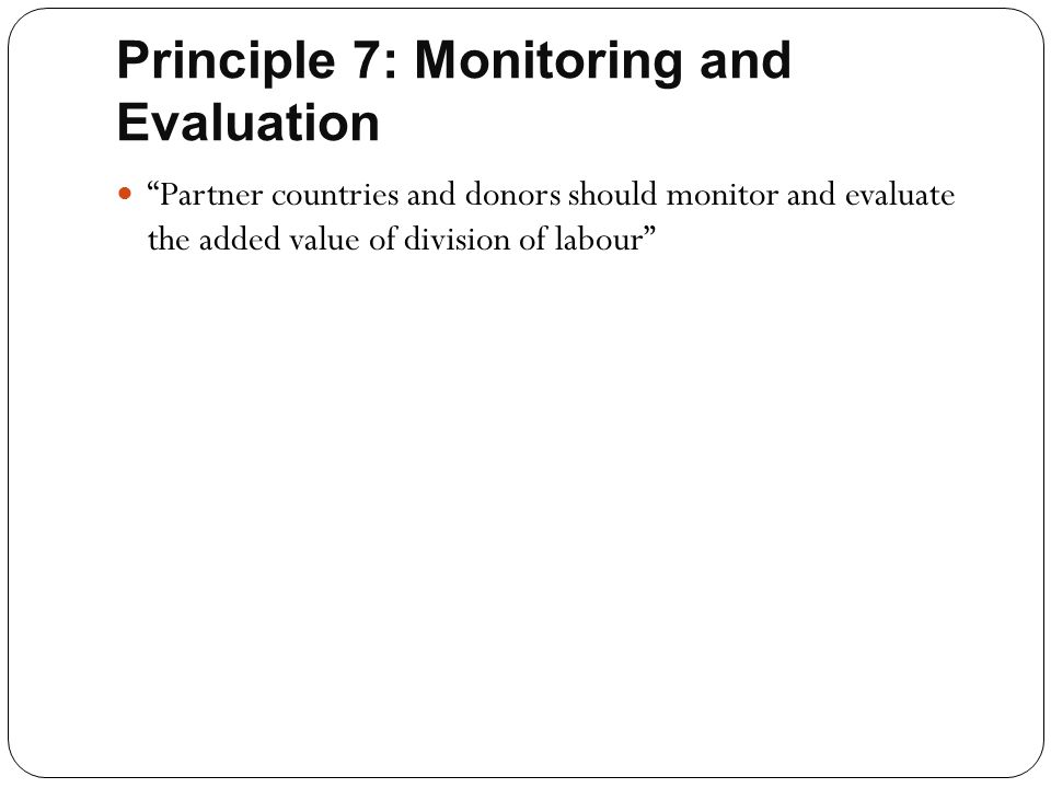 Principle 7: Monitoring and Evaluation