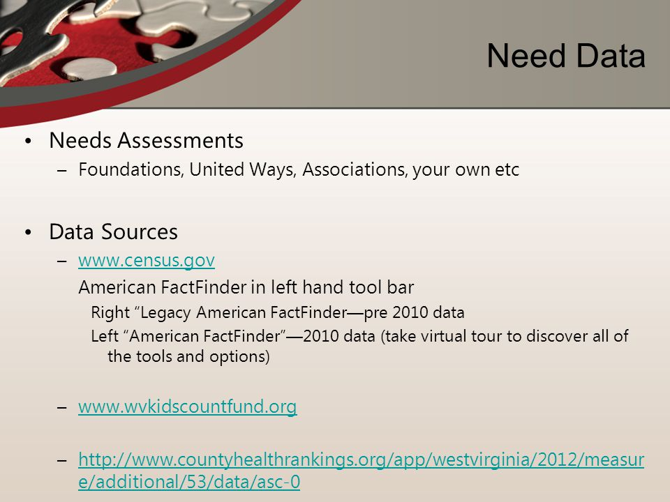 Need Data Needs Assessments Data Sources