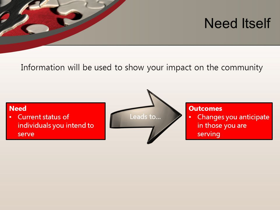Information will be used to show your impact on the community